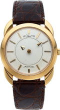 "Timepieces:Wristwatch, LeCoultre, 14k Gold ""Mystery"" Dial with ""Crab Claw"" Lugs, 34 mm, Circa 1950. ..."