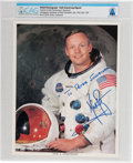 Explorers:Space Exploration, Neil Armstrong Inscribed Signed White Spacesuit Color Photo Directly From The Armstrong Family Collection™, CAG Certified. ...