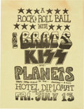 Music Memorabilia:Posters, KISS 1973 Very Early Handbill Opening for The Brats in NYC...