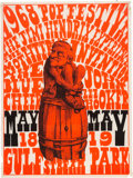 """Music Memorabilia:Posters, Jimi Hendrix Experience 1968 """"Red Man on a Barrel"""" Day-Glo Concert Poster..."""