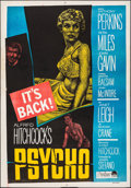 """Movie Posters:Hitchcock, Psycho (Paramount, R-1960s). Folded, Fine/Very Fine. Egyptian One Sheet (27.5"""" X 39.25""""). Hitchcock.. ..."""