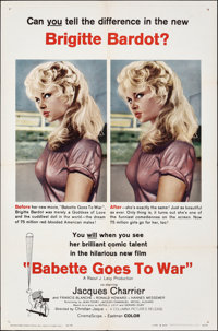 "Babette Goes to War (Columbia, 1960). Folded, Very Fine. One Sheet (27"" X 41""). Foreign"