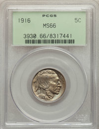 1916 5C MS66 PCGS. PCGS Population: (243/36). NGC Census: (76/14). CDN: $475 Whsle. Bid for problem-free NGC/PCGS MS66...