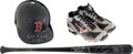 Baseball Collectibles:Others, 2010-11 Jose Iglesias Game Used & Signed Bat, Cleats & Batting Helmet. ...