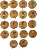 "Baseball Collectibles:Pins, C. 1900 Baseball ""Positions"" 7/8"" Pins (Red-Gold Background) Collection (18). ..."