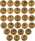 "Baseball Collectibles:Pins, C. 1900 Baseball ""Positions"" 7/8"" Pins (Blue-Gold Background) Collection (27). ..."
