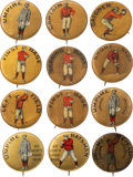 """Baseball Collectibles:Pins, C. 1900 Baseball """"Positions"""" 1-1/4"""" Pins (Red-Gold Background) Collection (12). ..."""