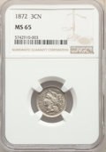 Three Cent Nickels: , 1872 3CN MS65 NGC. NGC Census: (25/4). PCGS Population: (26/18). CDN: $825 Whsle. Bid for problem-free NGC/PCGS MS65. Minta...
