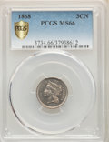 Three Cent Nickels, 1868 3CN MS66 PCGS. PCGS Population: (49/1 and 5/0+). NGC Census: (13/7 and 0/0+). MS66. Mintage 3,252,000....
