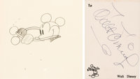 Steamboat Willie Mickey Mouse Animation Drawing with Walt Disney Signature (Walt Disney, 1928)