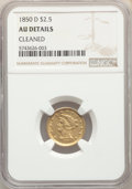Liberty Quarter Eagles, 1850-D $2 1/2 -- Cleaned -- NGC Details. AU. Variety 13-N....