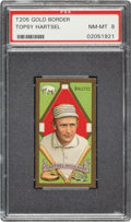 Baseball Cards:Singles (Pre-1930), 1911 T205 Gold Border Topsy Hartsel PSA NM-MT 8 - Pop Two, None Higher. ...