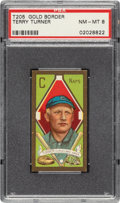 Baseball Cards:Singles (Pre-1930), 1911 T205 Gold Border Terry Turner PSA NM-MT 8 - Pop Two, None Higher. ...