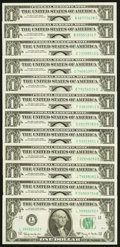 Complete District Set Fr. 1901-A-L $1 1963A Federal Reserve Notes. ... (Total: 12 notes)