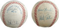 Autographs:Baseballs, 1980-86 Kansas City Royals Team Signed Baseballs Lot of 2. Nicepair of team-signed orbs that we see here each come from th...