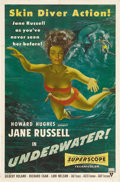 "Movie Posters:Drama, Underwater! (RKO, 1955). One Sheet (27"" X 41""). Sold as anunderwater adventure of treasure seeking, this poster makes itkn..."