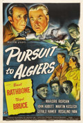"Movie Posters:Mystery, Pursuit to Algiers (Universal, 1945). One Sheet (27"" X 41""). BasilRathbone and Nigel Bruce are back as Sherlock Holmes and ..."