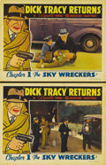 "Movie Posters:Serial, Dick Tracy Returns (Republic, 1938). Lobby Cards (2) (11"" X 14"").Material from this serial is the hardest to find from the ..."