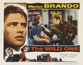 "Movie Posters:Drama, The Wild One (Columbia, 1953). Lobby Card (11"" X 14""). Marlon Brando, as the rebellious leader of a motorcycle club, knows w..."
