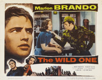 "The Wild One (Columbia, 1953). Lobby Card (11"" X 14""). Marlon Brando, as the rebellious leader of a motorcycle..."