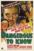 "Movie Posters:Crime, Dangerous to Know (Paramount, 1938). One Sheet (27"" X 41""). AnnaMay Wong, Akim Tamiroff, Gail Patrick and Lloyd Nolan star ..."