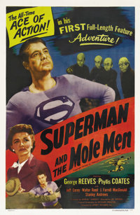 "Superman and the Mole Men (Lippert, 1951). One Sheet (27"" X 41""). Before he became the hero of television, Geo..."