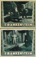 "Movie Posters:Horror, Frankenstein (Universal, R-1938). Lobby Cards (2) (11"" X 14""). Thislot consists of two cards from the first reissue of this... (Total:2 Item)"