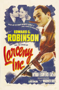 """Movie Posters:Comedy, Larceny, Inc (Warner Brothers, 1942). One Sheet (27"""" X 41""""). This hilarious little gem of a comedy casts Edward G. Robinson ..."""