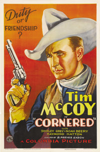 "Cornered (Columbia, 1932). One Sheet (27"" X 41""). From the Wild West shows to the silver screen, Tim McCoy rul..."