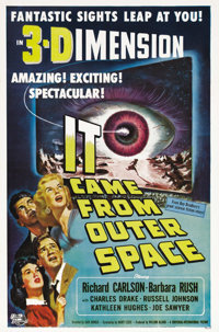 "It Came From Outer Space (Universal, 1953). One Sheet (27"" X 41""). Hollywood jumped on the 3-D bandwagon in 19..."