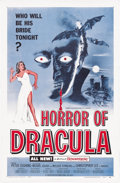 "Movie Posters:Horror, Horror of Dracula (Universal International, 1958). One Sheet (27"" X41""). Christopher Lee brings to life the famous vampire ..."