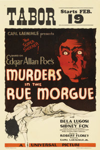 """Murders in the Rue Morgue (Universal, 1932). Window Card (14"""" X 22""""). This film is one of the formative films..."""