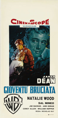 "Rebel Without a Cause (Warner Brothers, 1955). Italian Locandina (13"" X 27""). This prototypical juvenile delin..."