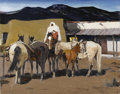 Fine Art - Painting, American:Modern  (1900 1949)  , LAVERNE NELSON BLACK (American 1887-1938). Night Out in Taos(Taos Indian Night Watch), circa 1930. Oil on canvas board...