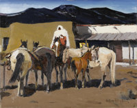 LAVERNE NELSON BLACK (American 1887-1938) Night Out in Taos (Taos Indian Night Watch), circa 1930 Oil on canvas board&am...