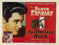 """Jailhouse Rock (MGM, 1957). Title Lobby Card (11"""" X 14""""). After Elvis Presley's initial success with gyrating..."""