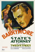 "Movie Posters:Drama, State's Attorney (RKO, 1932). One Sheet (27"" X 41""). John Barrymorestars in this pre-code drama as an attorney who gets sed..."