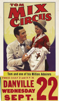 "Movie Posters:Western, Tom Mix Circus Poster (Circus Poster, 1937). Poster (22"" X 28""). With the coming of sound to the motion picture, Tom Mix was..."