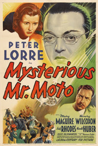"Mysterious Mr. Moto (20th Century Fox, 1938). One Sheet (27"" X 41""). Peter Lorre stars as the Japanese detecti..."