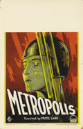 "Movie Posters:Science Fiction, Metropolis (UFA-Paramount, 1927). Window Card (14"" X 22""). This isthe first original window card we have ever seen turn up ..."