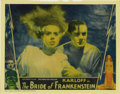 "Movie Posters:Horror, The Bride of Frankenstein (Universal, 1935). Lobby Card (11"" X14""). Colin Clive as Dr. Frankenstein protects Elsa Lancaster..."