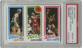 Basketball Cards:Singles (1980-Now), 1980-81 Topps Bird, Erving, Johnson PSA NM-MT 8. Here we presentthe key to the experimental 1980-81 Topps basketball issue...