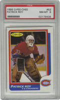 Hockey Cards:Singles (1970-Now), 1986-87 O-Pee-Chee Patrick Roy #53 PSA NM-MT 8. Four razor sharp corners and outstanding white borders make this rookie off...