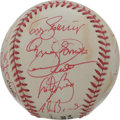 Autographs:Baseballs, 1996 St. Louis Cardinals Team Signed Baseball. Twenty-one red inksignatures from the 1996 NL Central champs appear on the ...