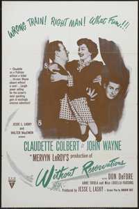 "Without Reservations (RKO, R-1950s). One Sheet (27"" X 41""). Romance. Starring John Wayne, Claudette Colbert, D..."