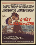 "Movie Posters:War, D-Day The Sixth of June (20th Century Fox, 1956). Window Card (14""X 17.25""). War Drama. Starring Robert Taylor, Richard Tod..."