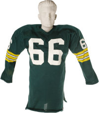 Mid-1960's Ray Nitschke Game Worn Jersey. Fellow Green Bay Packers Hall of Famer Bart Starr once characterized this hard...