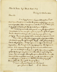 John Quincy Adams Superb Political Autograph Letter Signed: Three weeks before he's elected to Congress, two years after...
