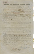 """Antiques:Black Americana, Slave Life Insurance Policy From Virginia. Partially printed document, one page with docketing panel on verso, 8"""" x 12.5"""", R..."""