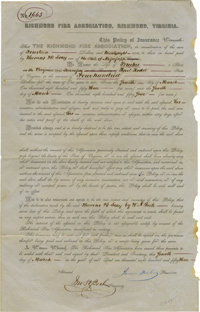 "Slave Life Insurance Policy From Virginia. Partially printed document, one page with docketing panel on verso, 8"" x..."